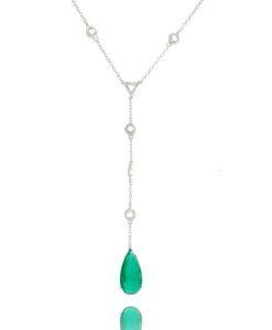 colar gravatinha com gota esmeralda e corrente ponto de luz semi joias online