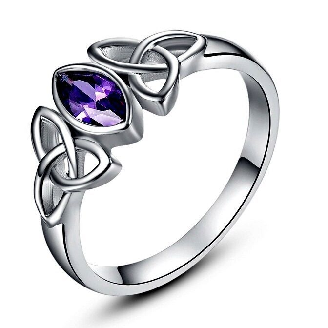 CelticTrinity Knot Purple Cubic Zirconia White Gold Plated Ring Various Sizes