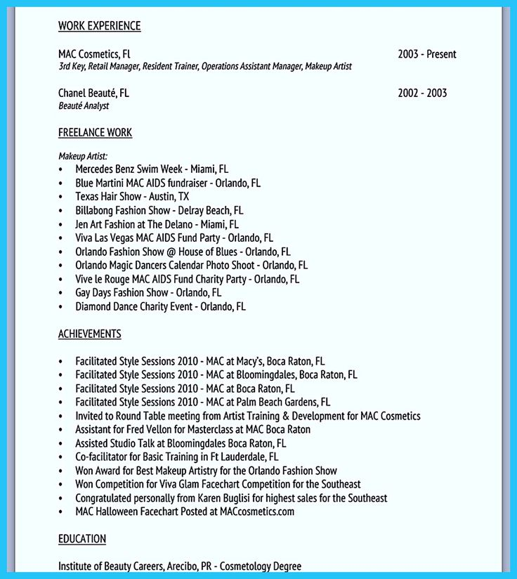 594 best Resume Samples images on Pinterest Resume templates - sample resume for makeup artist