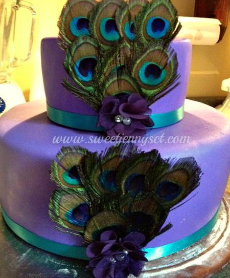 Peacock Feather Wedding Cake: Www.sweetjennysct.com Peacock Cake. Vanilla Cake