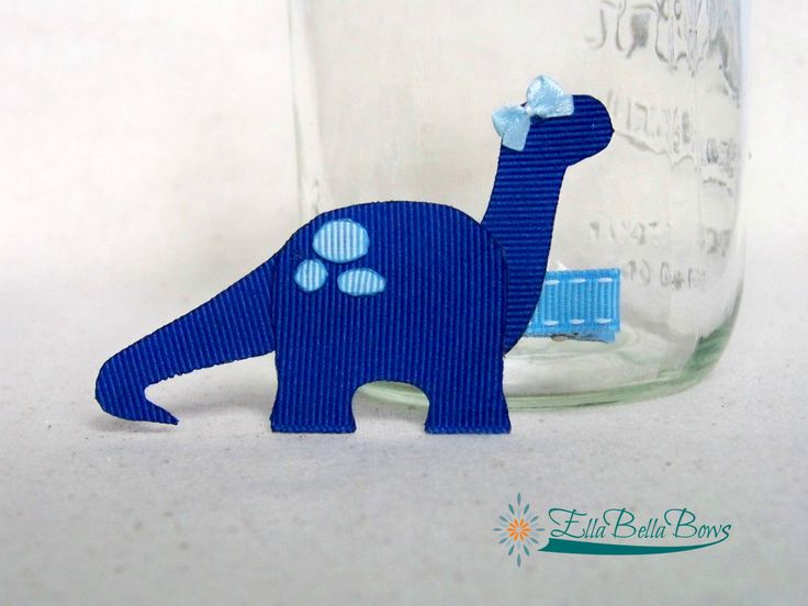 Dinosaur Ribbon Sculpture Hair Clip by EllaBellaBowsWI on Etsy