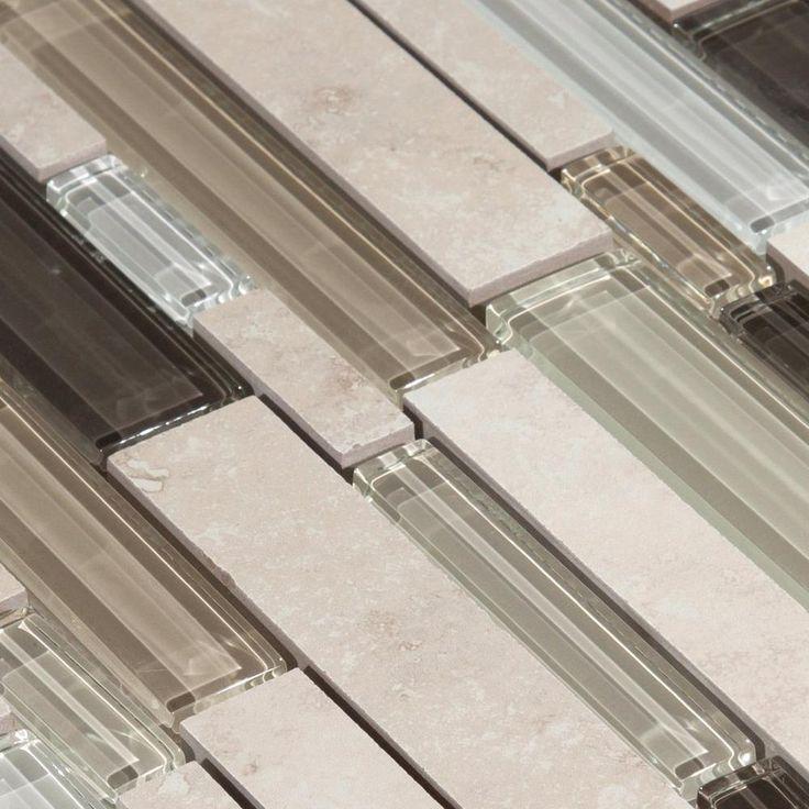 Santos Beige Linear Glass Mosaic 12in. x 12in