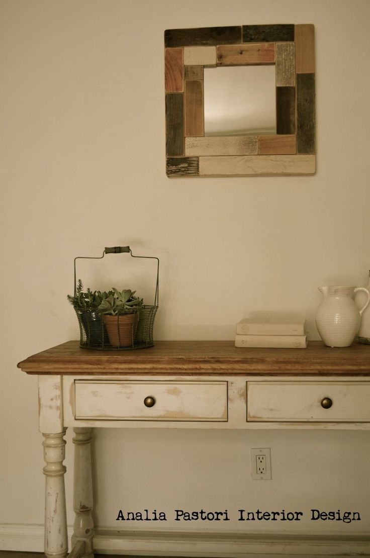 Farmhouse console table distressed antique white by