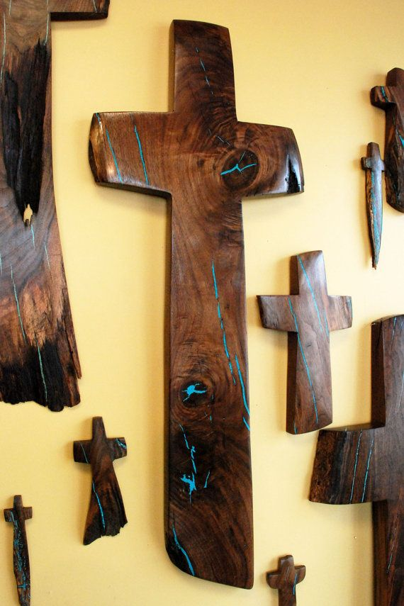 Walnut Wall Cross with Turquoise Inlay 50 high x19 wide by BlackFacedSheep