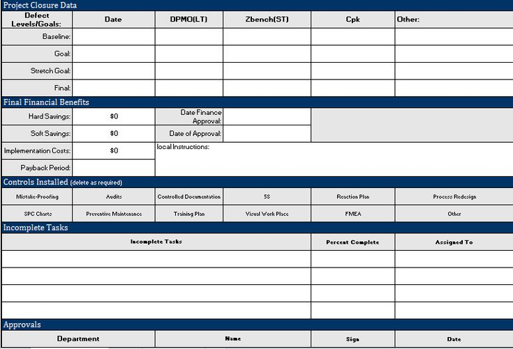 project closure template excel free download
