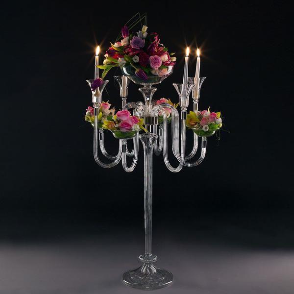 CARMEN 8 Candles and Vase Event Candelabra Detachable