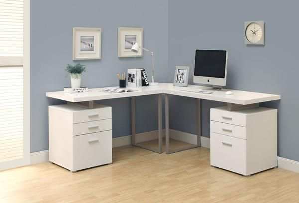 This modern desk with floating top will bring a contemporary look to your home or office, along with great functionality. It offers two pedestals, including tw #homeofficeideasfortwo