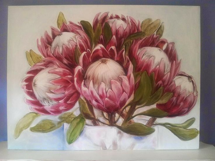 King proteas. Oil on canvas. Melissa Von Brughan.
