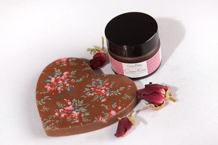 Luxury Rose Cocoa Balm A delectable blend of pure 100% cocoa and premium Rose essential oil, this Lip Balm is packed with anti-oxidants and minerals which help to soften, nourish and moisturise delicate skin. Comes with rose flavoured bar of chocolate. http://cognitospa.co.uk/ourshop/cat_889526-Lip-Balm-with-Chocolate-Heart-in-Gift-Box.html