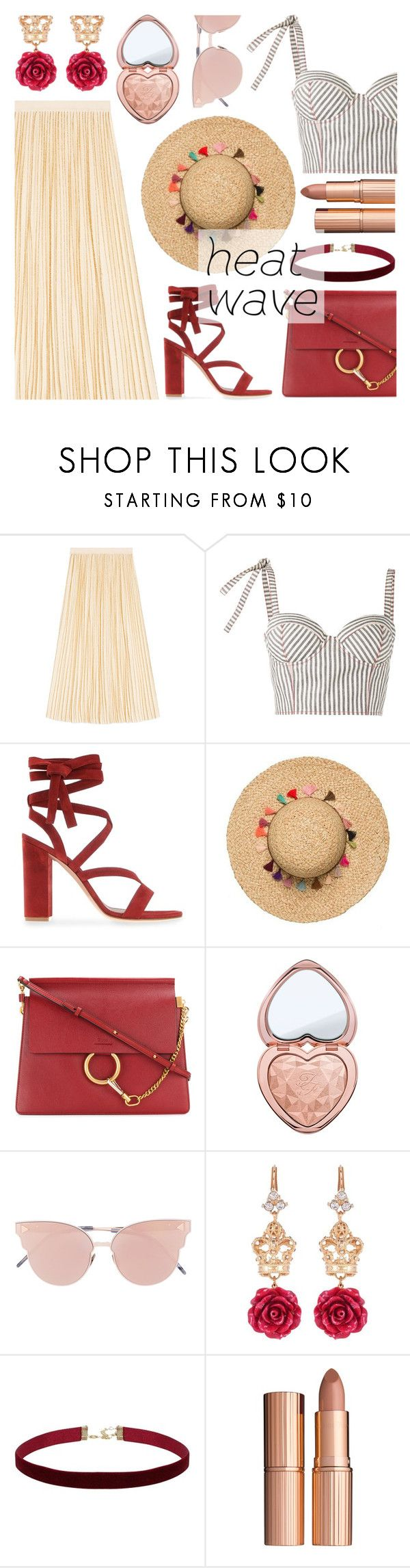 How to Dress for a Heat Wave by dora04 on Polyvore featuring Rosie Assoulin, Gucci, Gianvito Rossi, Chloé, Dolce&Gabbana, So.Ya, Too Faced Cosmetics, Charlotte Tilbury and heatwave