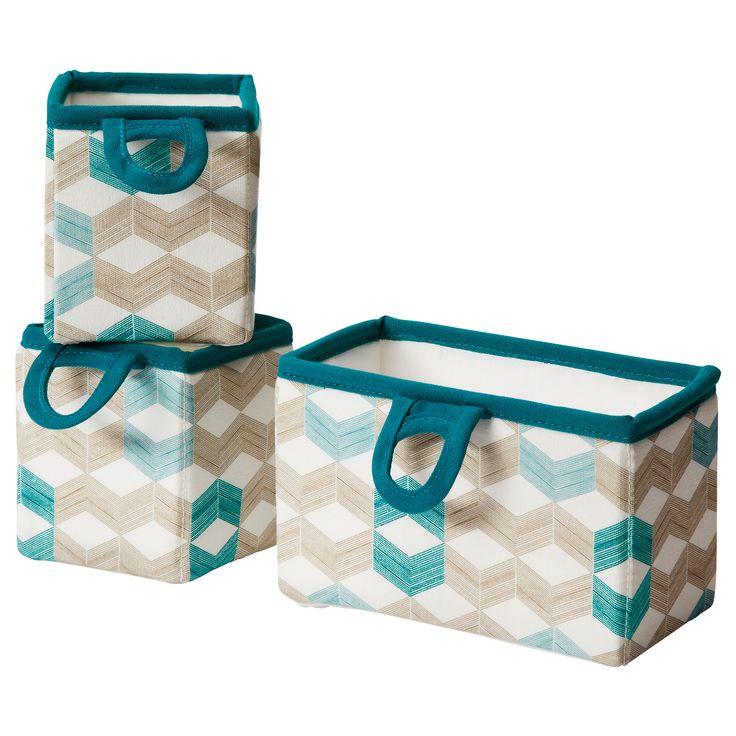 NOTUDDEN Set di 3 cestini a sospensione - grafico/multicolore - IKEA