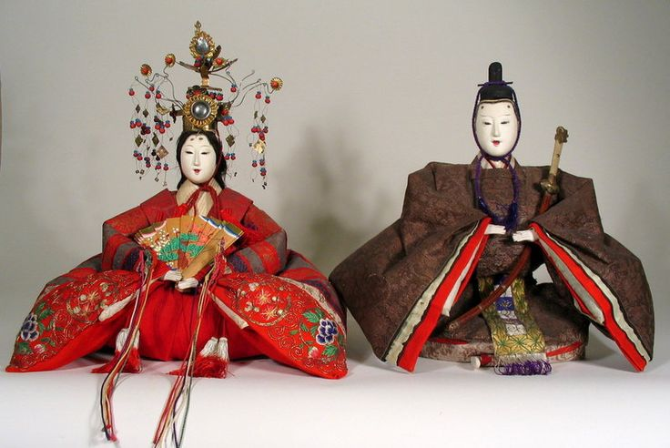 Antique Japanese Emperor and Empress Hina Dolls, Meiji