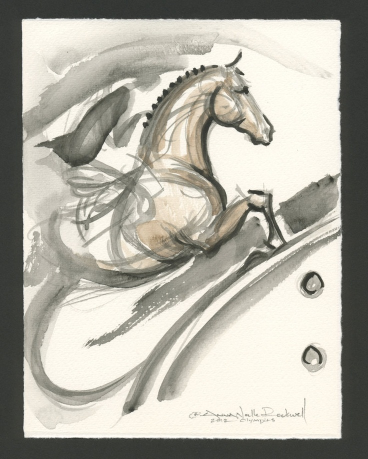 """Horse Art painting 2012 Olympic Equestrian Show Jumping by Anna Noelle Rockwell, unframed-""""Emergence"""""""