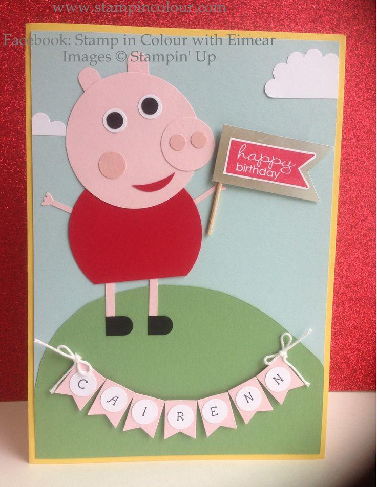 Stampin' Up Peppa Pig Punch Art Children's Birthday Card-001