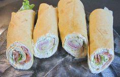 Das perfekte Wraps mit Lachs und Käse/Schinken-Rezept mit einfacher Schritt-für-Schritt-Anleitung: Tortillas nebeneinander auf eine Arbeitsplatte legen…