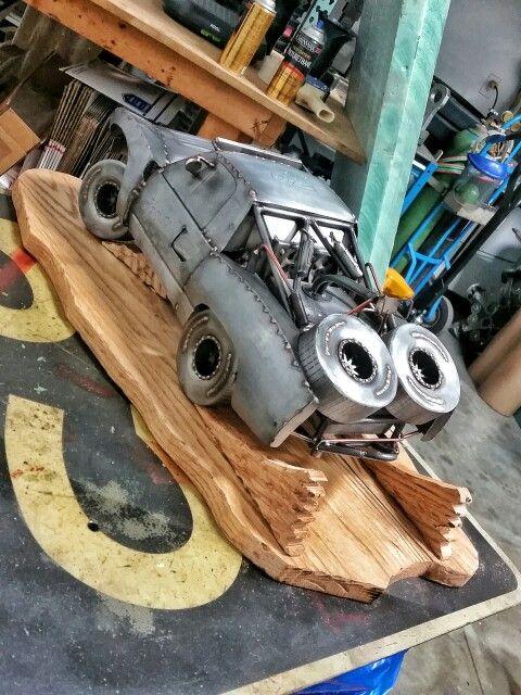 Trophy truck metal art with wooden base welding metalart cold hard art
