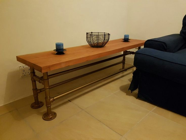 Coffee table African Rosewood and 1 inch  galvanized (painted in copper and bronze) pipe