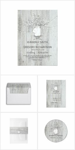 Rustic Mason Jar Baby's Breath White Wood Wedding Invitation Collection | Silver, Gray Wedding