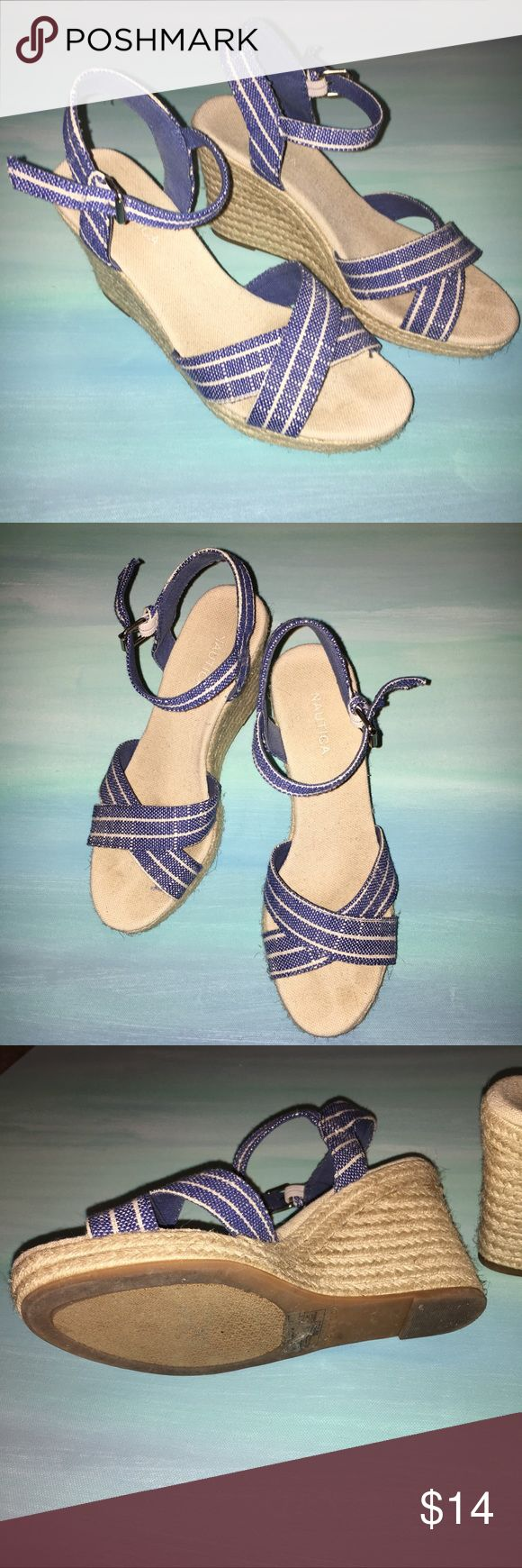 Nautica Blue 7.5 Wedge Espadrilles Sandals Canvas Worn once sadly not my size. In great shape. Nautical blue and white wedges Nautica Shoes Espadrilles