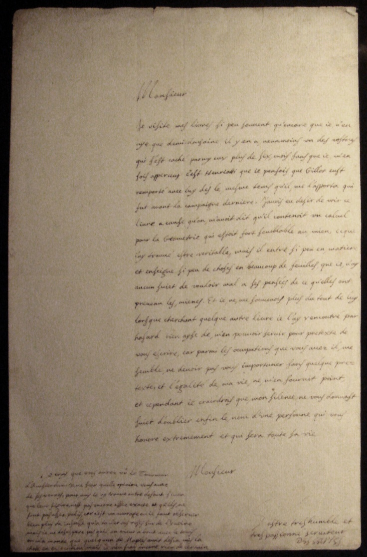 best images about philologia nantes th handwritten letter by rene descartes 1638