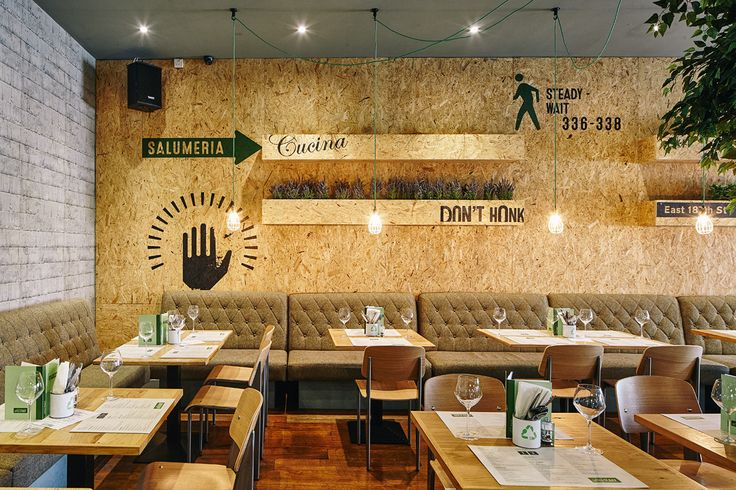 Printed wood chip board interior in Little Italy, Liverpool. Design and graphics by Stride Studio. Photography Craig Magee