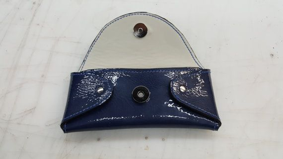 Designer Blue patent leather eyeglass case by DaddysLeatherSupply