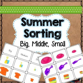 A sorting by size activity with real photos of summer items. Child sorts between Big, Medium and Small. A great pre-math and language activity.8 sets of pictures24 pictures in totalSuitable for Montessori or preschool maths centresYou may also be interested in:Color SortingDinosaur sortingThings that go togetherButterfly Puzzle Matching