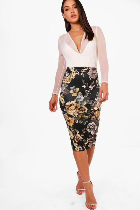 Jessica Tonal Floral Midi Skirt