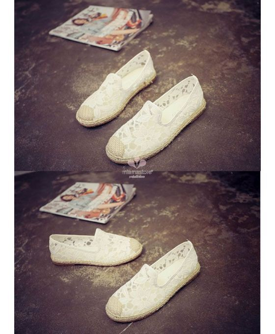 Round toe Lace Rubber sol Wedding shoes