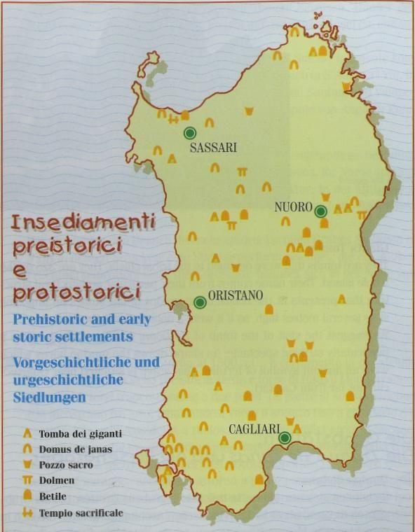 Mappa dei pozzi sacri, tomba dei giganti, domus de janas, dolmen, betile, tempio sacrificale. Sardegna, Sardinia