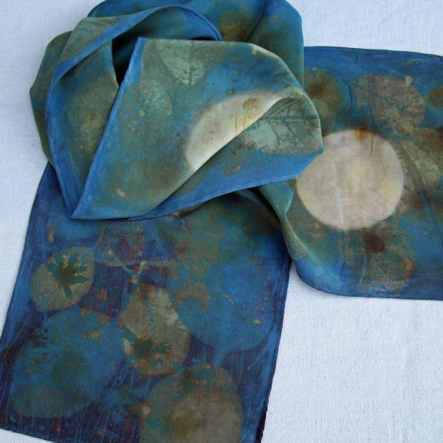 Itajime, Индиго и ревень шелковый шарф