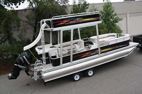 New 24 Ft Pontoon Boat With Slide 225 Four Stroke Mercury