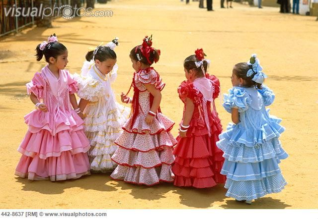Girls Dressed in Andalusian Costume, Jerez Horse Fair, Jerez de la Frontera, Andalusia, Spain