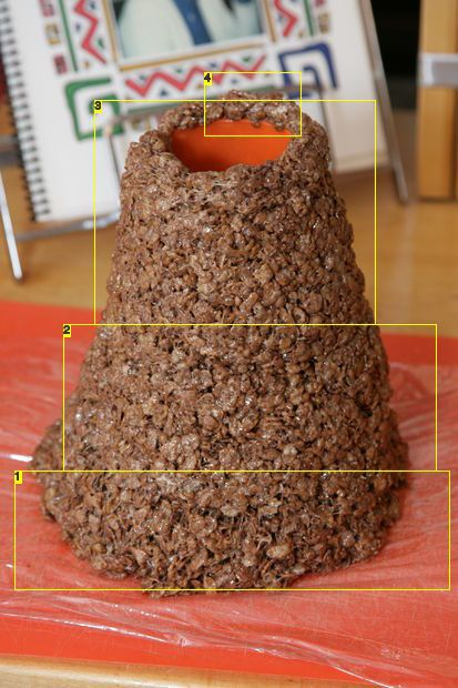 Easy cocoa rice Krispy volcano to use with dry ice to put on a cake!