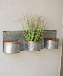 Zinc Horizontal Wall Planters