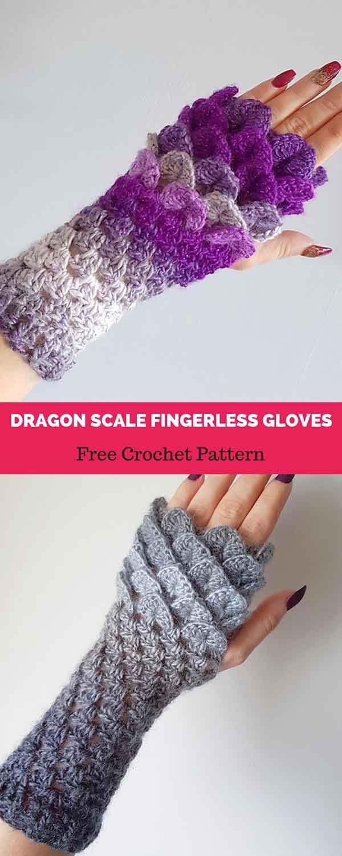 Dragon Scale Fingerless Gloves [ FREE CROCHET PATTERN | ideas ...