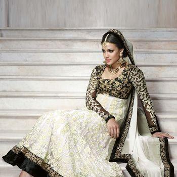 Off White and Black Net Anarkali Churidar Kameez Online Shopping: SLKWY568A