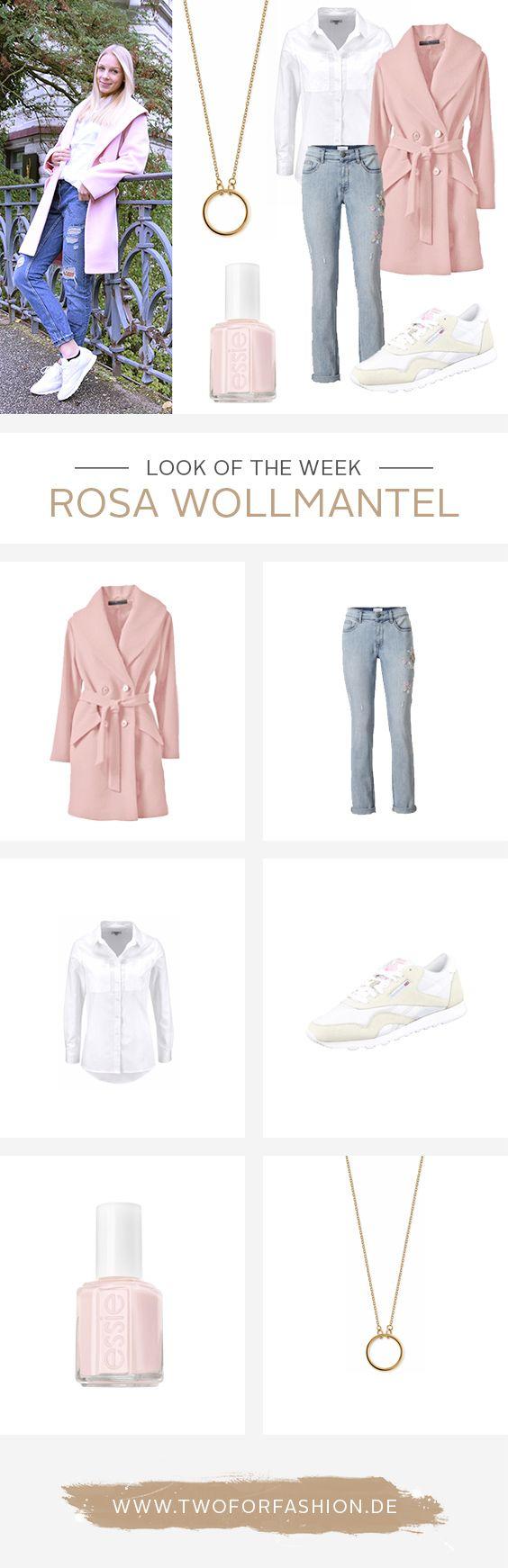 Mit dem hochwertigen rosa Wollmantel seid ihr während der grauen Wintertage der absolute Hingucker. Cathrin kombiniert dazu eine lässige Bluse, eine Boyfriend Jeans und sportliche Sneaker.