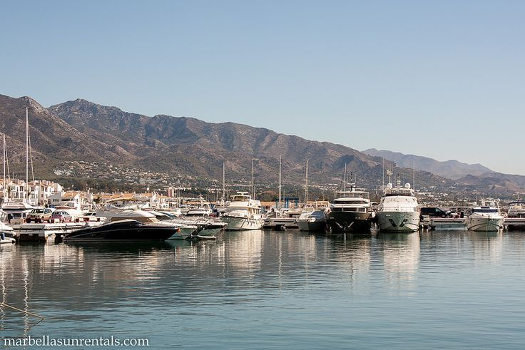 Boats in Puerto Banus with mountain at background II