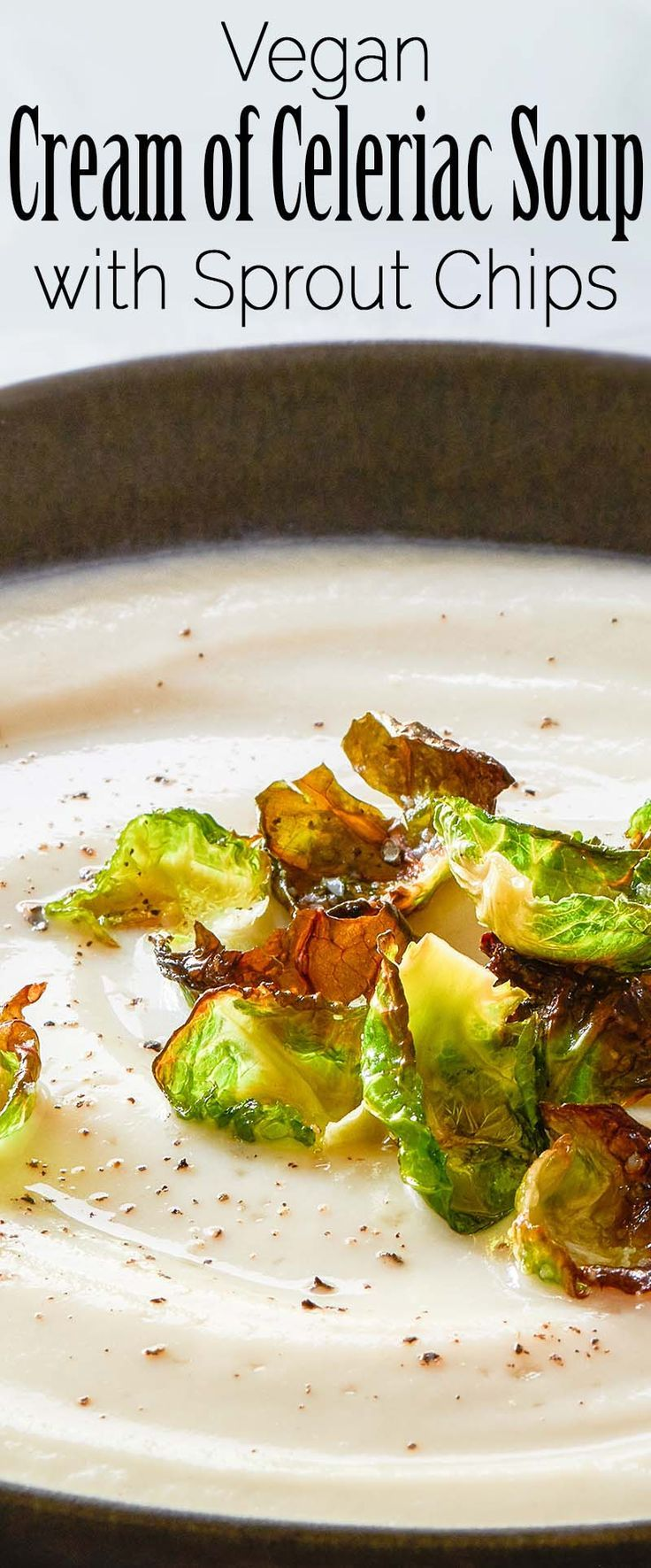 Cream Of Celeriac Soup with Brussels Sprouts Chips