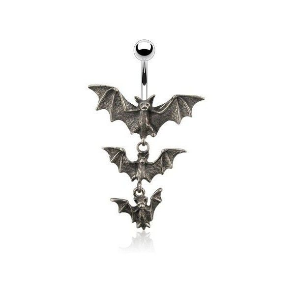 Gothic Tri-Vampire Bats 14g Navel Dangle Belly Ring ($9.99) ❤ liked on Polyvore featuring jewelry, goth jewelry, belly rings jewelry, belly button rings jewelry, gothic jewellery and gothic jewelry