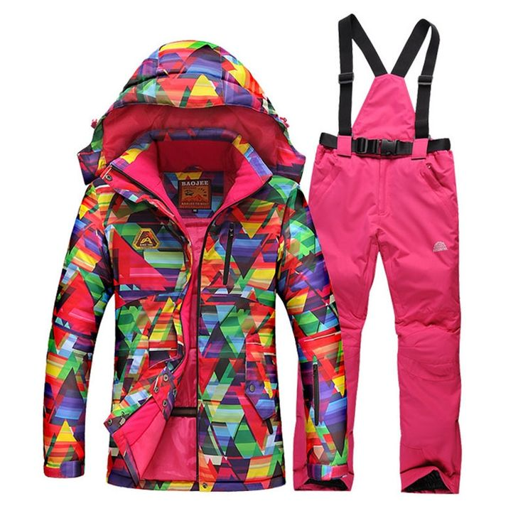 57.99$  Buy here - http://alixmb.shopchina.info/1/go.php?t=32381754740 - 2018 Colorful Women Skiing Clothing hoodie jacket+strap pants Water-proof Ski Suit Sets Ladies Snowboard Clothes Jacket+Pant 57.99$ #SHOPPING