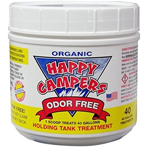 Best RV waste tank odor control I've found. Also inexpensive. White powder with no smell. Happy Campers Organic RV Holding Tank Treatment - medium jar, 40 treatments for RV, Marine, Camping, Portable Toilets -