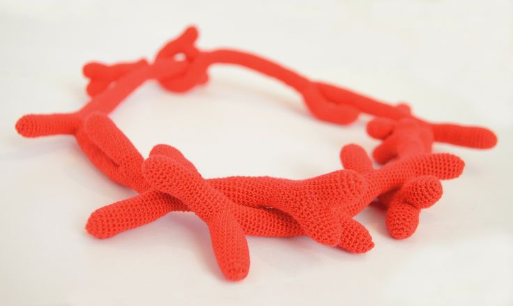 Red coral - Crochet necklace | pratinart