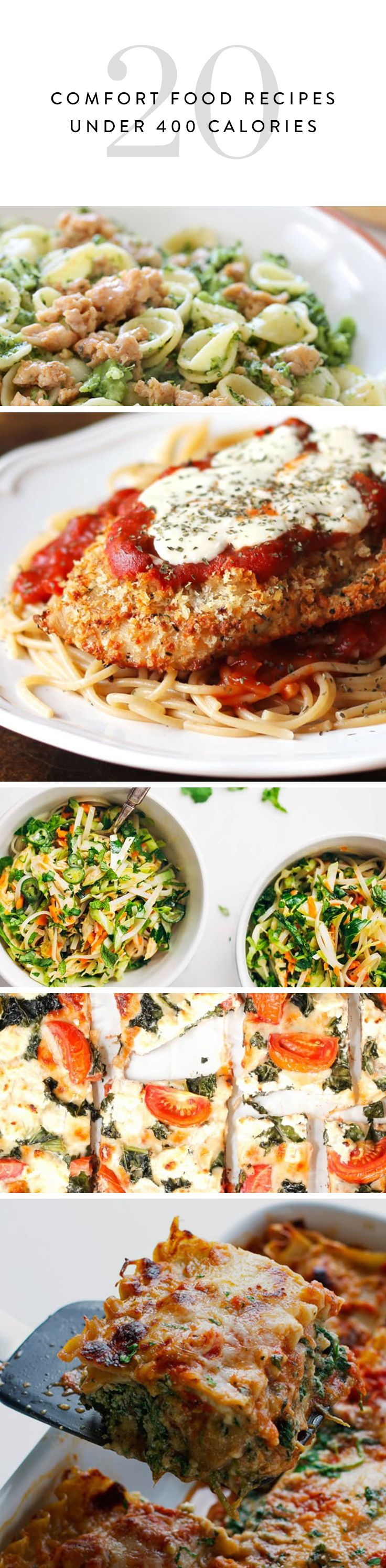 You know those nights when you're just really craving mac and cheese, but you really, really don't want to sabotage a whole day of eating healthy? We've got you covered. Here are 20 totally satisfying comfort-food recipes, all under 400 calories.