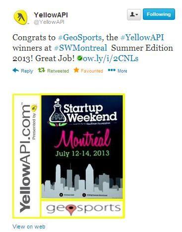 Geosports winner of the #YellowAPI startup weekend summer edition! http://kck.st/1jofiKp  , twitter : TCGeosports