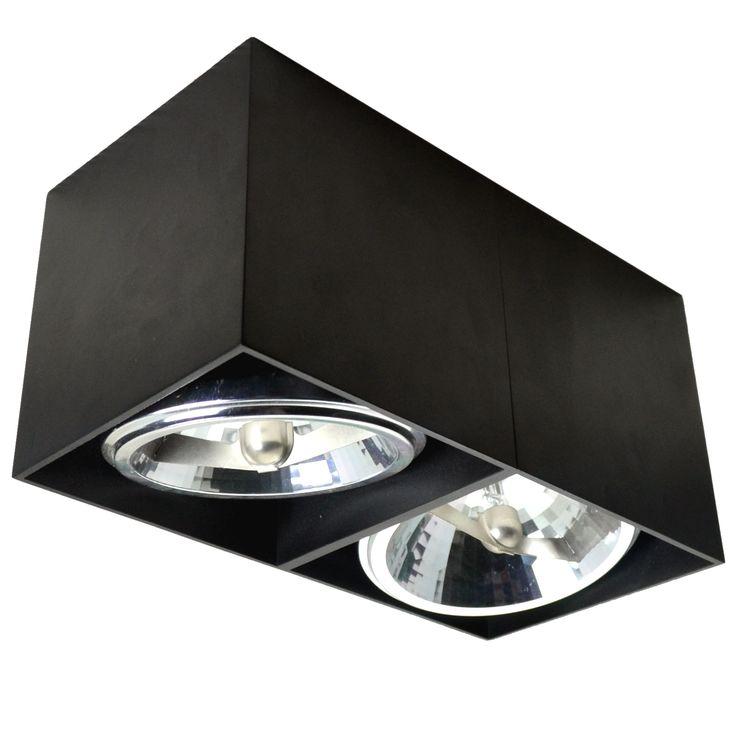 Oczko LAMPA sufitowa BOX SL 2 90433 Zumaline metalowa OPRAWA halogenowy plafon czarny