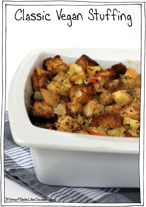 Classic Vegan Stuffing. Perfect for Thanksgiving and Christmas. #itdoesnttastelikechicken