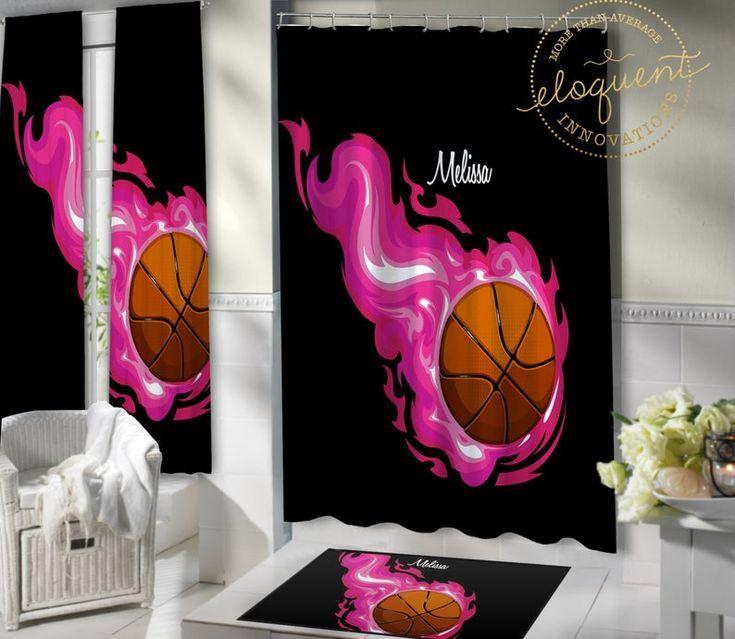 Basketball Shower Curtain Kids Sports Shower Curtain Girl Fabric