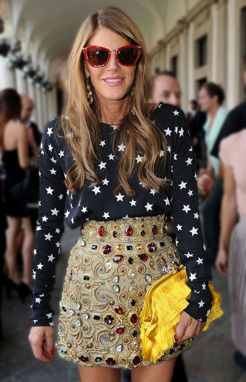 Anna dello russo mixes prints, colors and textures